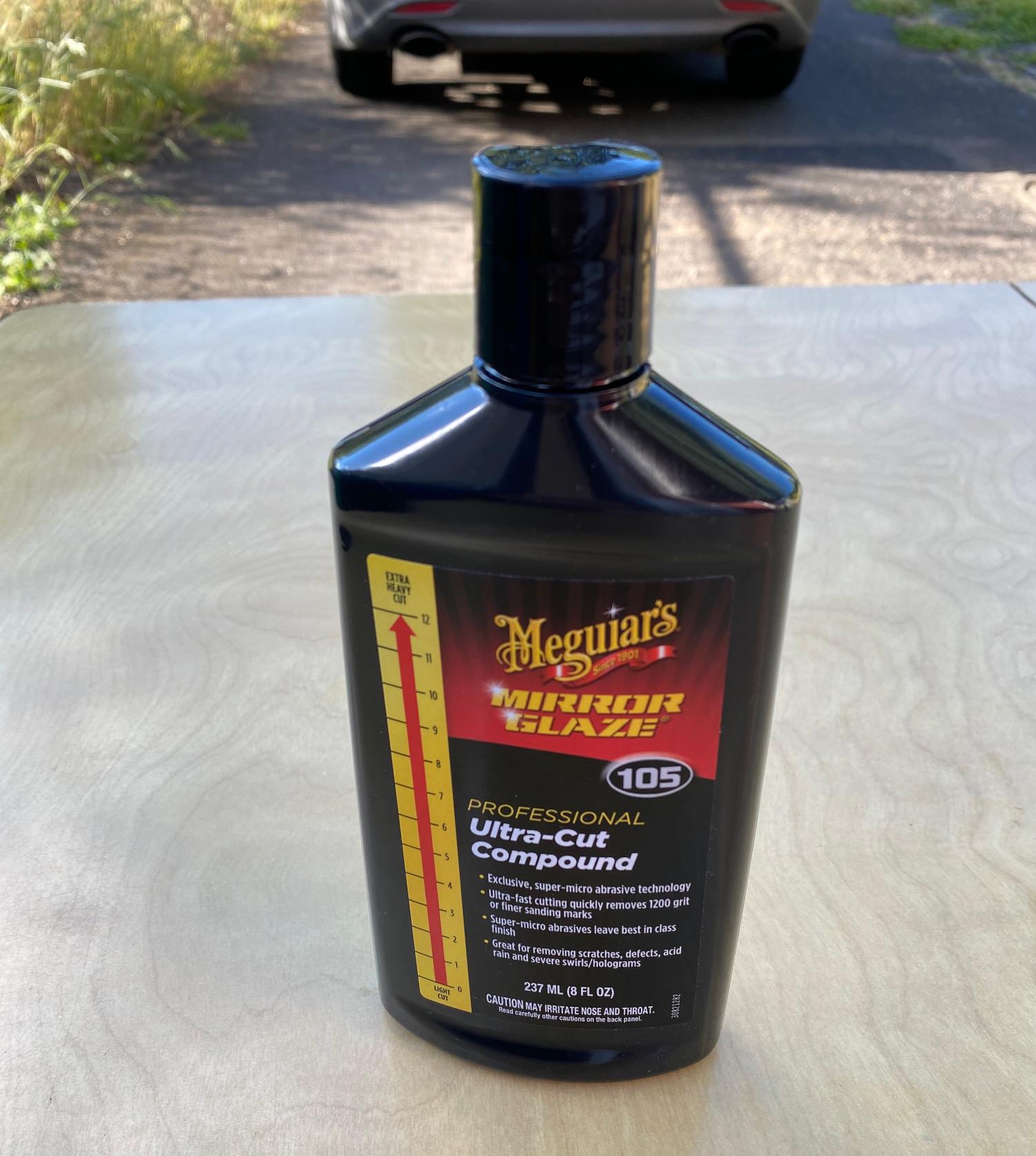Bottle of Meguiar's car scratch remover