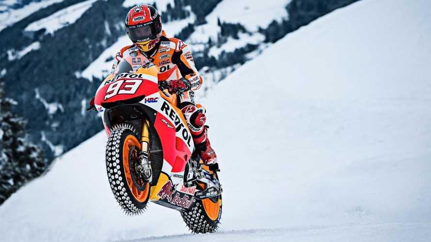 VIDÉO - Quand Marc Márquez teste sa MotoGP sur la neige