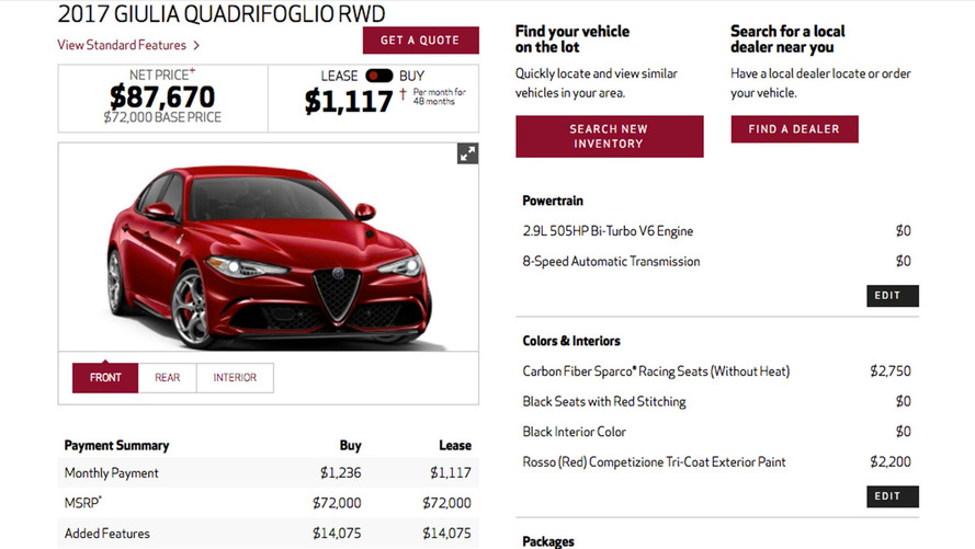 Alfa Romeo Giulia Configurator Adding Money To The Quadrifoglio S 73 595 Base Price