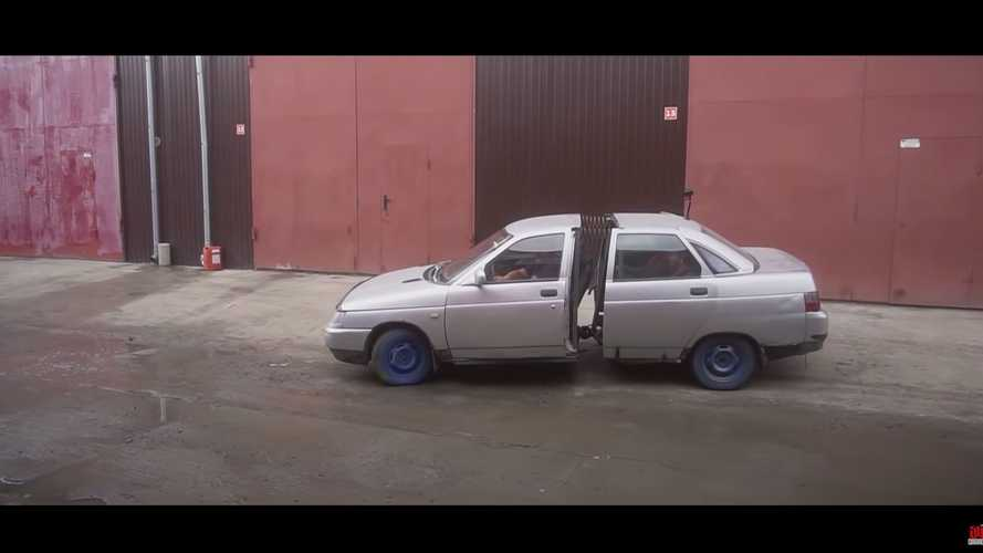 This video shows an articulated Lada is obviously a bad idea