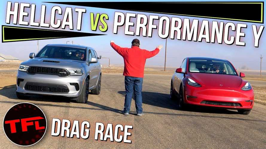 Watch Tesla Model Y Performance Race Dodge Durango Hellcat At The Strip