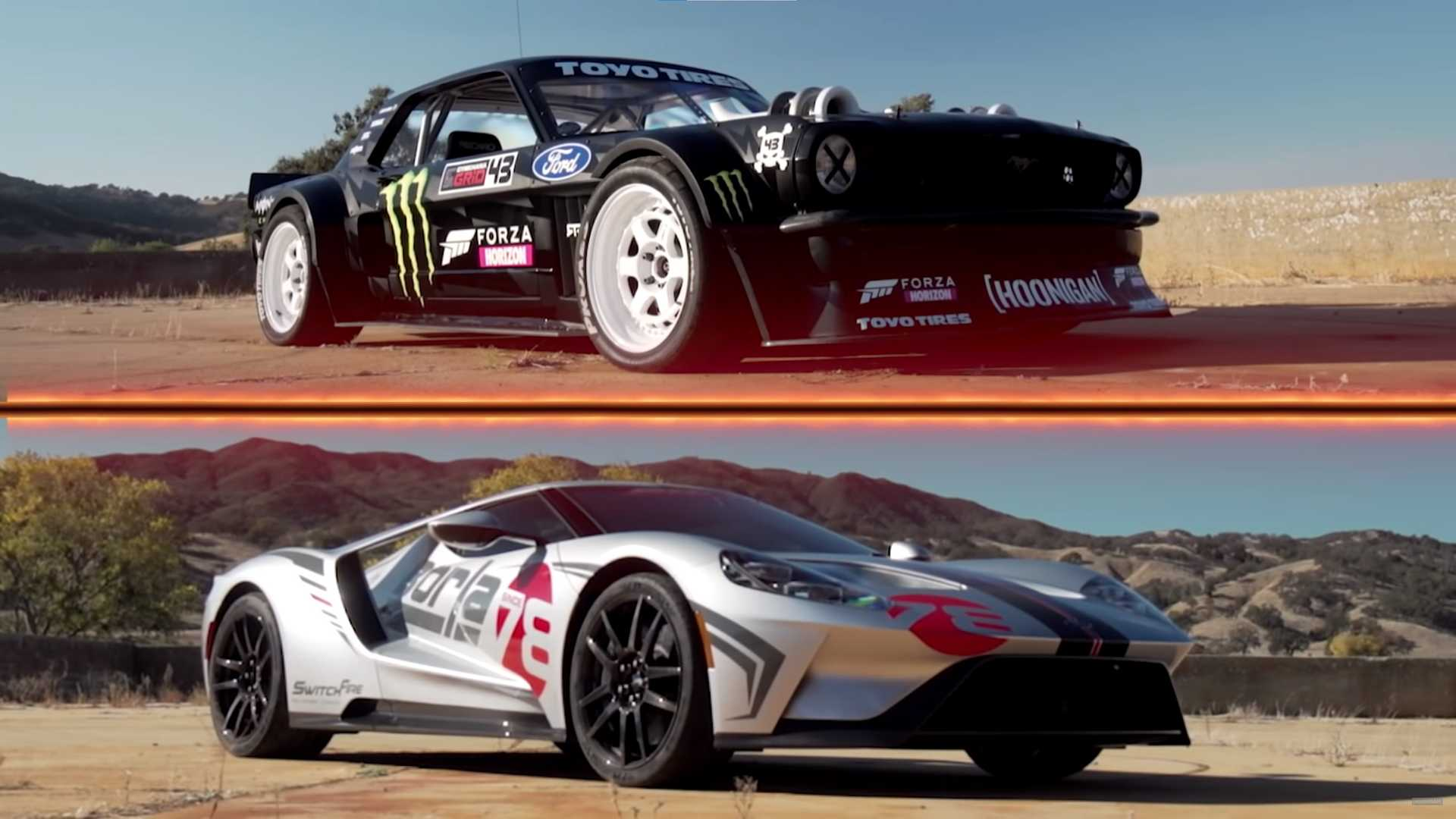 Watch the Hoonicorn Mustang pull the race with the beautiful Ford GT Carbon