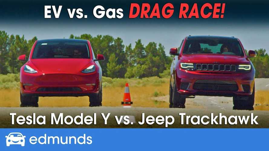 Watch Tesla Model Y Drag Race Jeep Trackhawk: World's Quickest SUV Battle