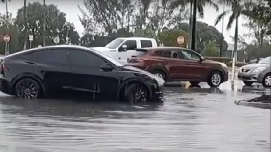Smart Summon allows Tesla Model Y to escape from very deep, big puddle