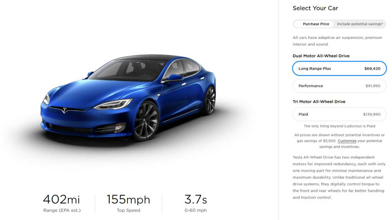 Tesla Model S price U.S. 20201015