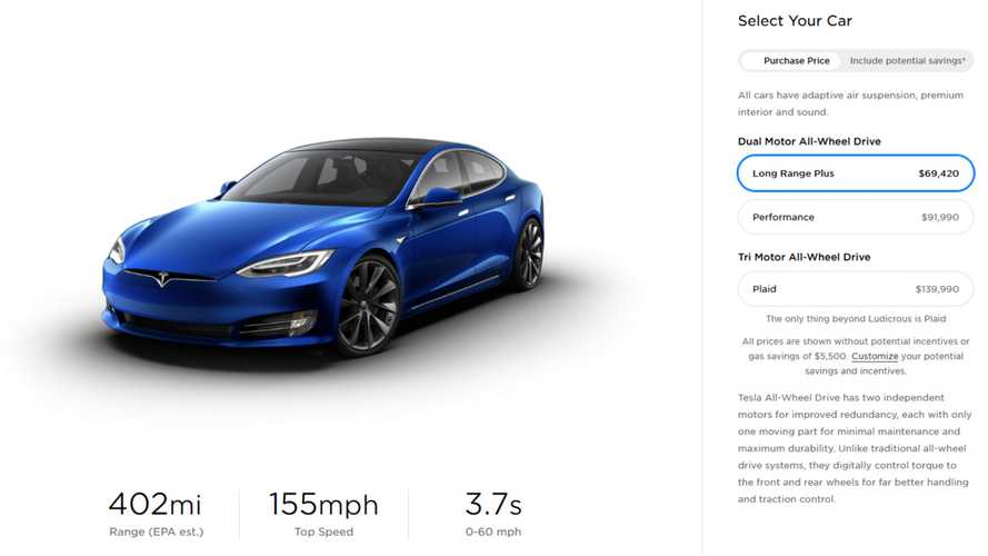 Tesla Model S Long Range Plus Now Starts At $69,420 In U.S.