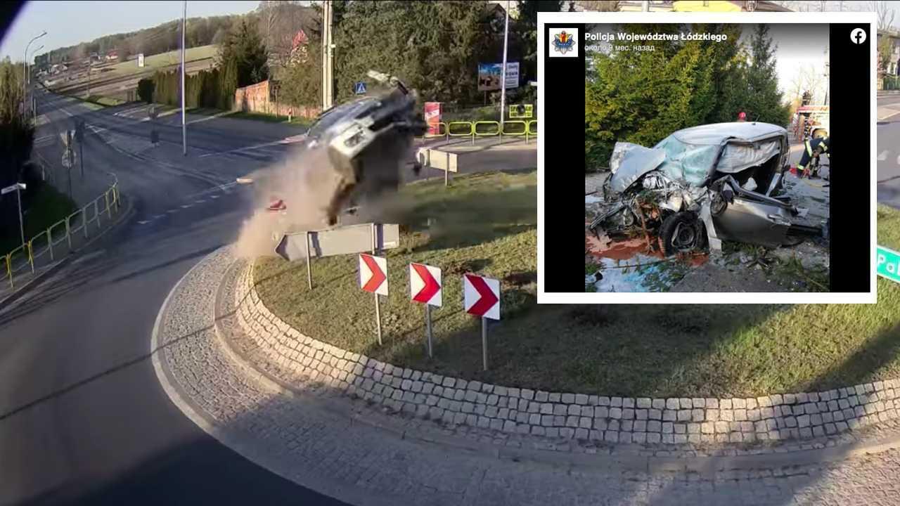 Авария года: полет Suzuki Swift над Лодзью