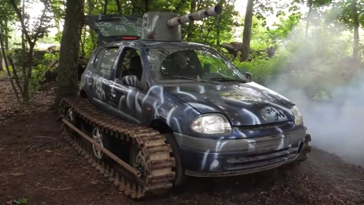 Renault Clio with tank tracks