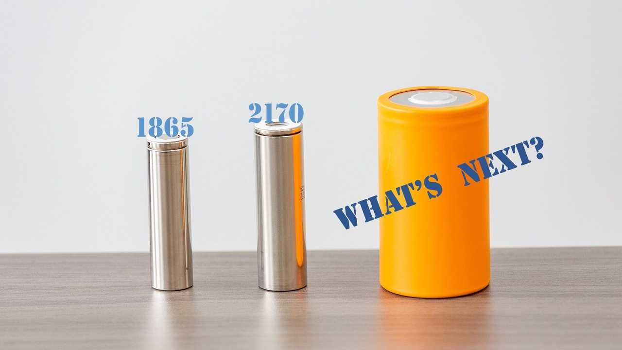 Panasonic Batteries: From left: the 1865, 2170 and a mock-up of the next generation of large cylindrical automotive batteries.
