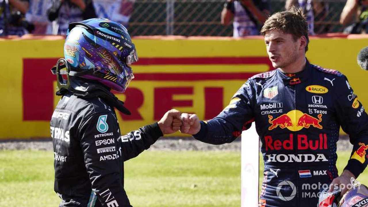 Lewis Hamilton and Max Verstappen at British GP 2021