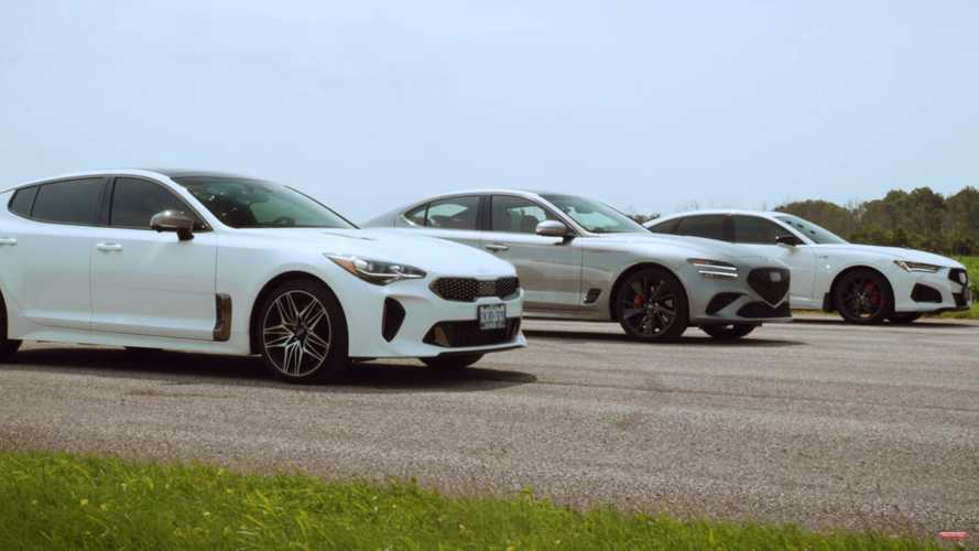 Acura TLX Type S Faces G70 And Stinger GT In Three-Way Drag Race