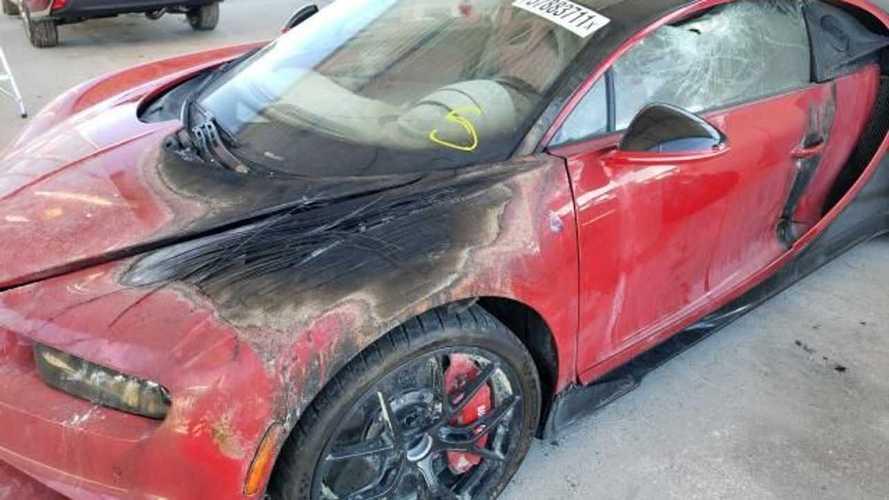 Quanto paghereste questa Bugatti Chiron in parte bruciata?