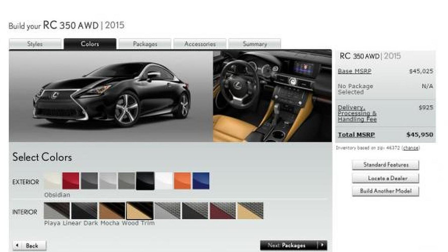 2015 Lexus RC configurator now online, starts at $42,790