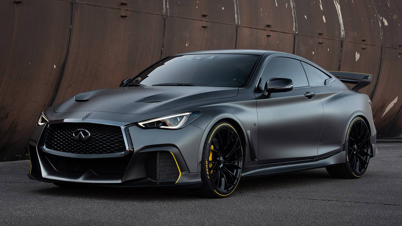 The Infiniti Q60 Project Black S posing in three-quarter perspective