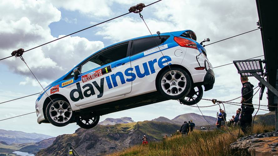 Watch A Fiesta Rally Car Hurtle Down A Zip Line In Wales