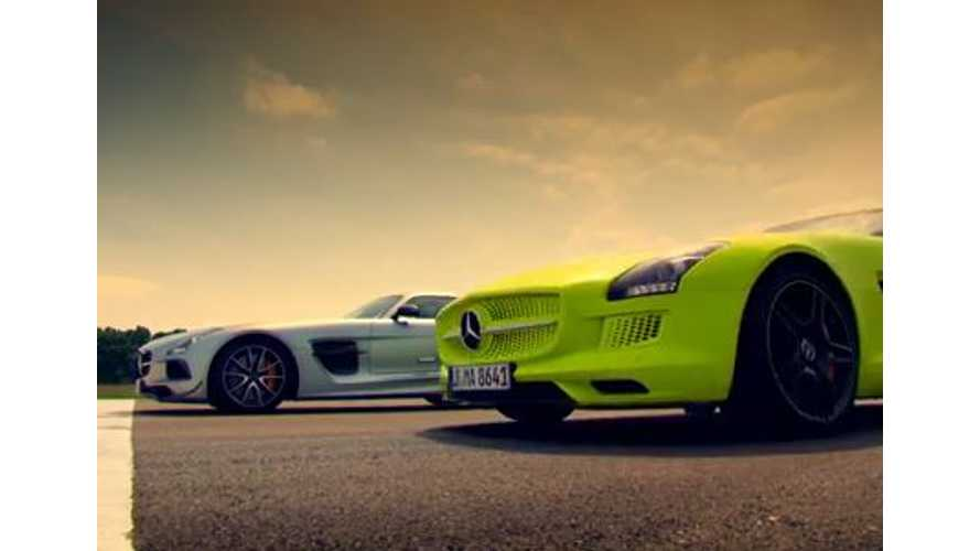 Mercedes-Benz SLS AMG Electric Drive Versus SLS AMG Black Series - Top Gear Video