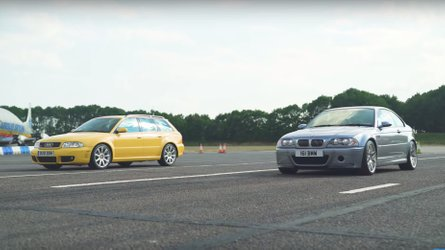 BMW E46 M3 CSL meets Audi RS4 B5 at drag strip