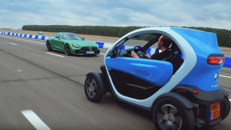 Mercedes-AMG GT R drag races Renault Twizy… in reverse