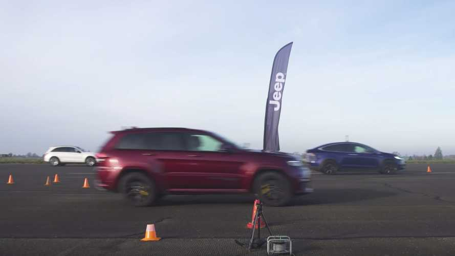 Wish granted: Jeep Trackhawk drag races Model X, AMG GLC 63