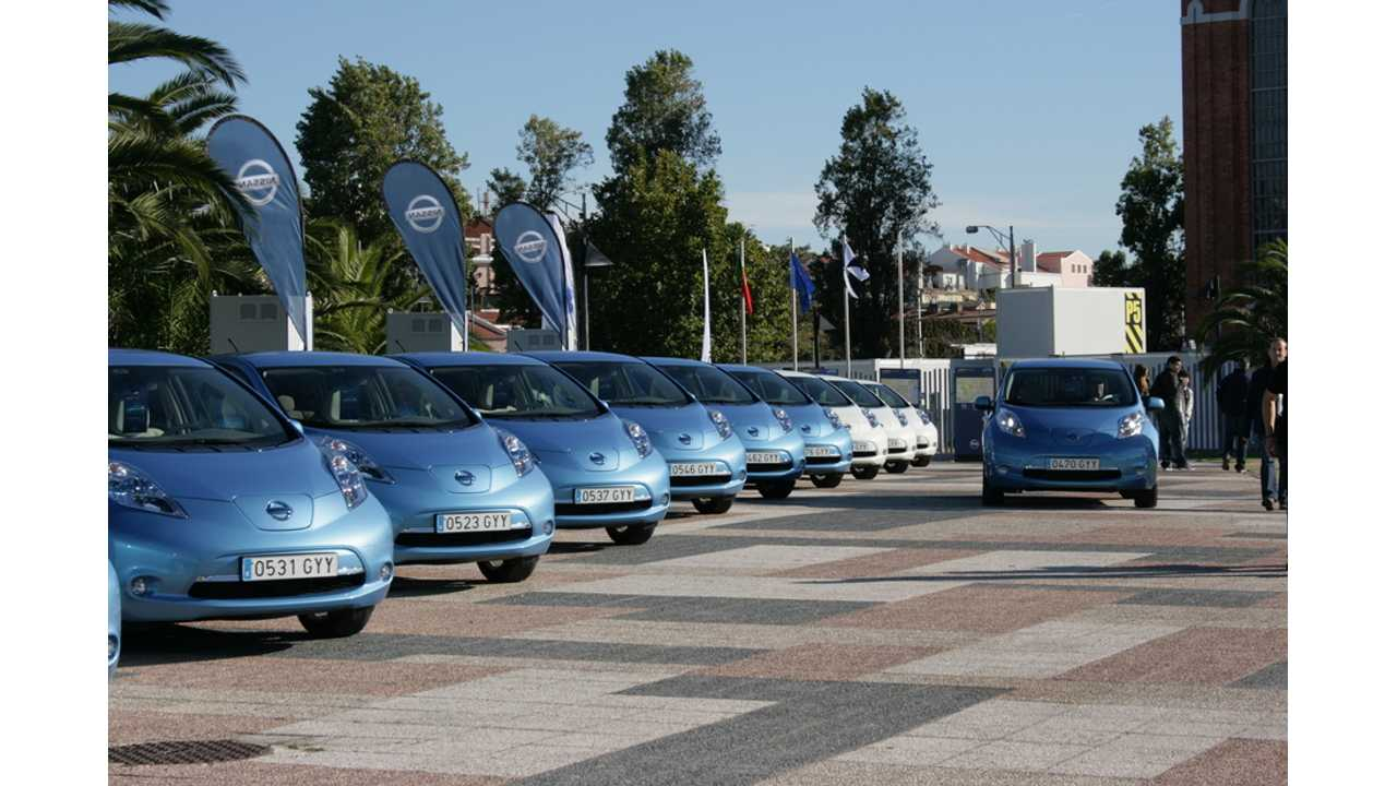 Nissan LEAFs Lined Up and Ready to Charge
