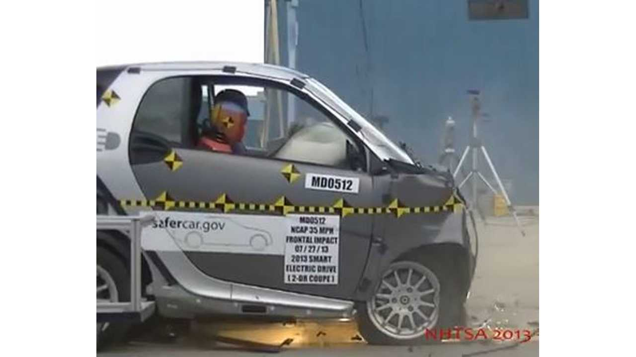 Smart Fortwo Electric Drive Scores 4 Stars Overall in NHTSA Crash Tests (w/videos)