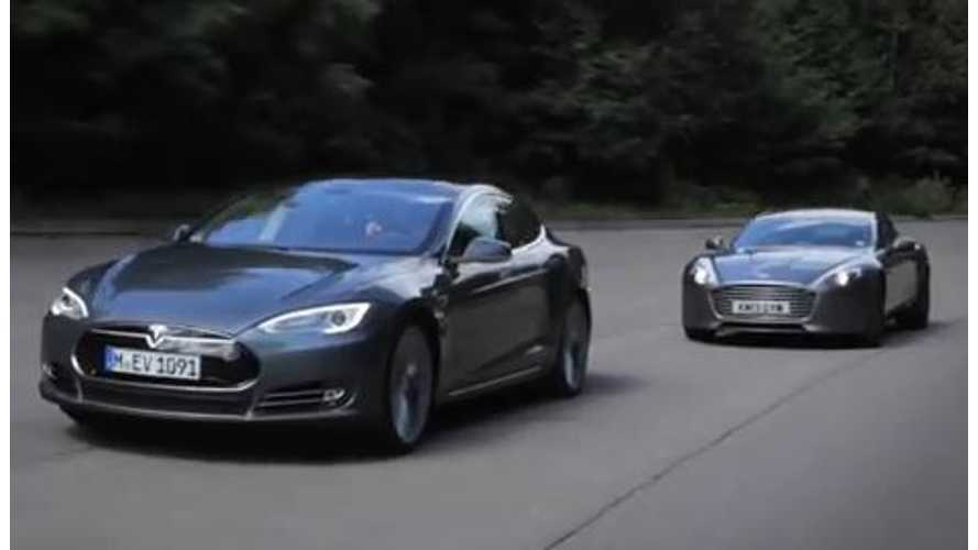 Video: Tesla Model S Takes on Aston Martin Rapide S on the Track