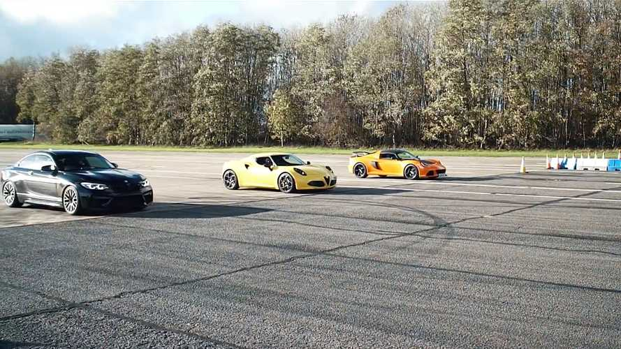 Alfa Romeo 4C drag races BMW M2 Competition and Lotus Exige