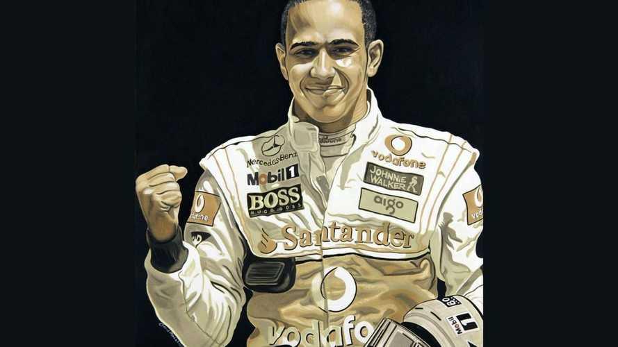 Lewis Hamilton portrait painted with Mobile 1 oil