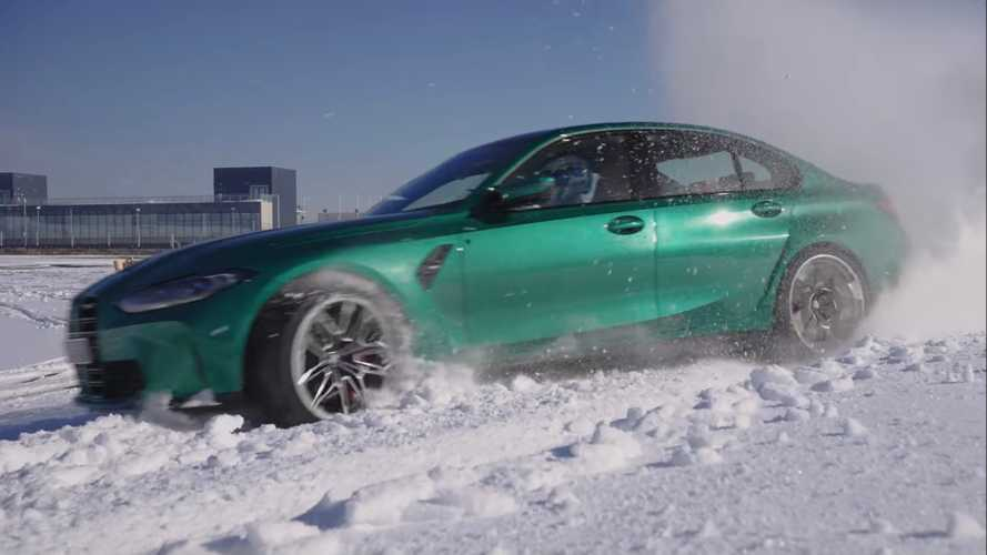 2021 BMW M3 shows its tail-happy nature on a snowy track