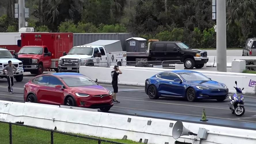 Tesla Model S P100D Drag Races Model X P90D