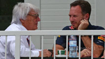 (L to R): Bernie Ecclestone, with Christian Horner, Red Bull Racing Team Principal