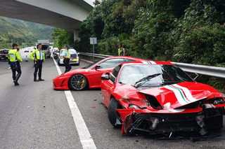 Pair of Ferraris Crash Hard in Hong Kong