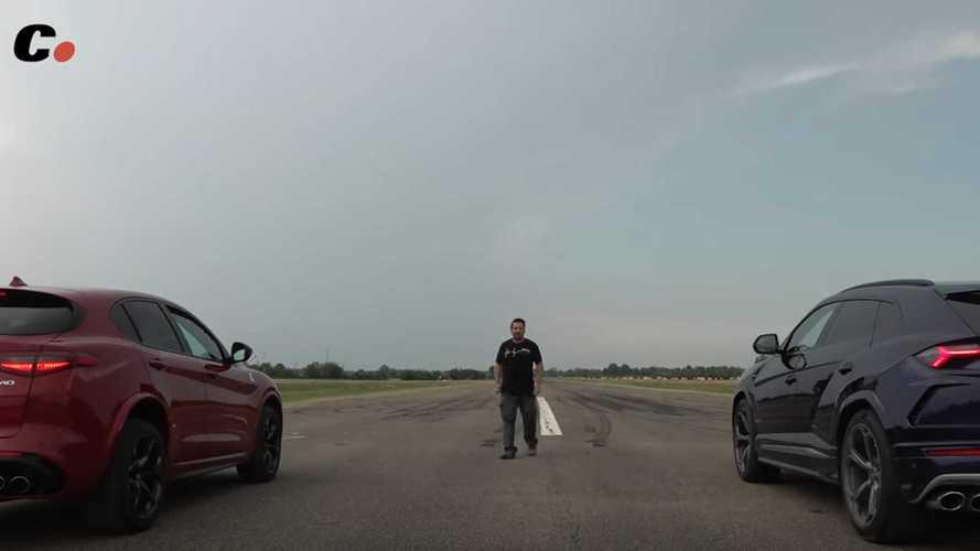 Watch Alfa Romeo Stelvio Quadrifoglio drag race Lamborghini Urus