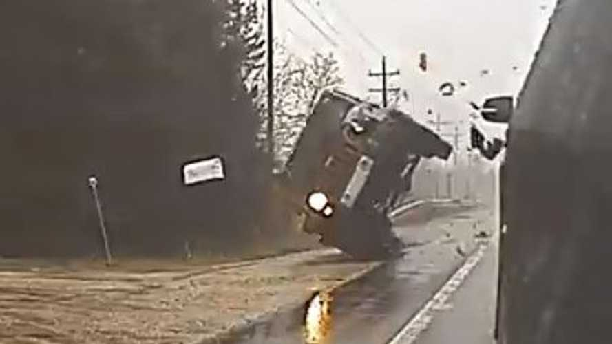 Watch Jeep Wrangler Crash And Roll After Hitting Stopped Car: TeslaCam