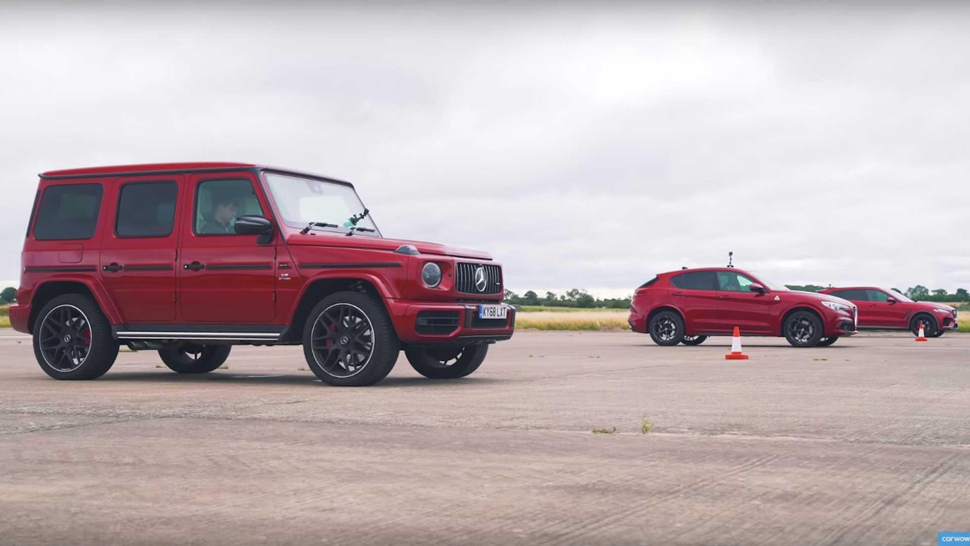 AMG G63 Faces Stelvio QV, F-Pace SVR In Red SUV Drag Race