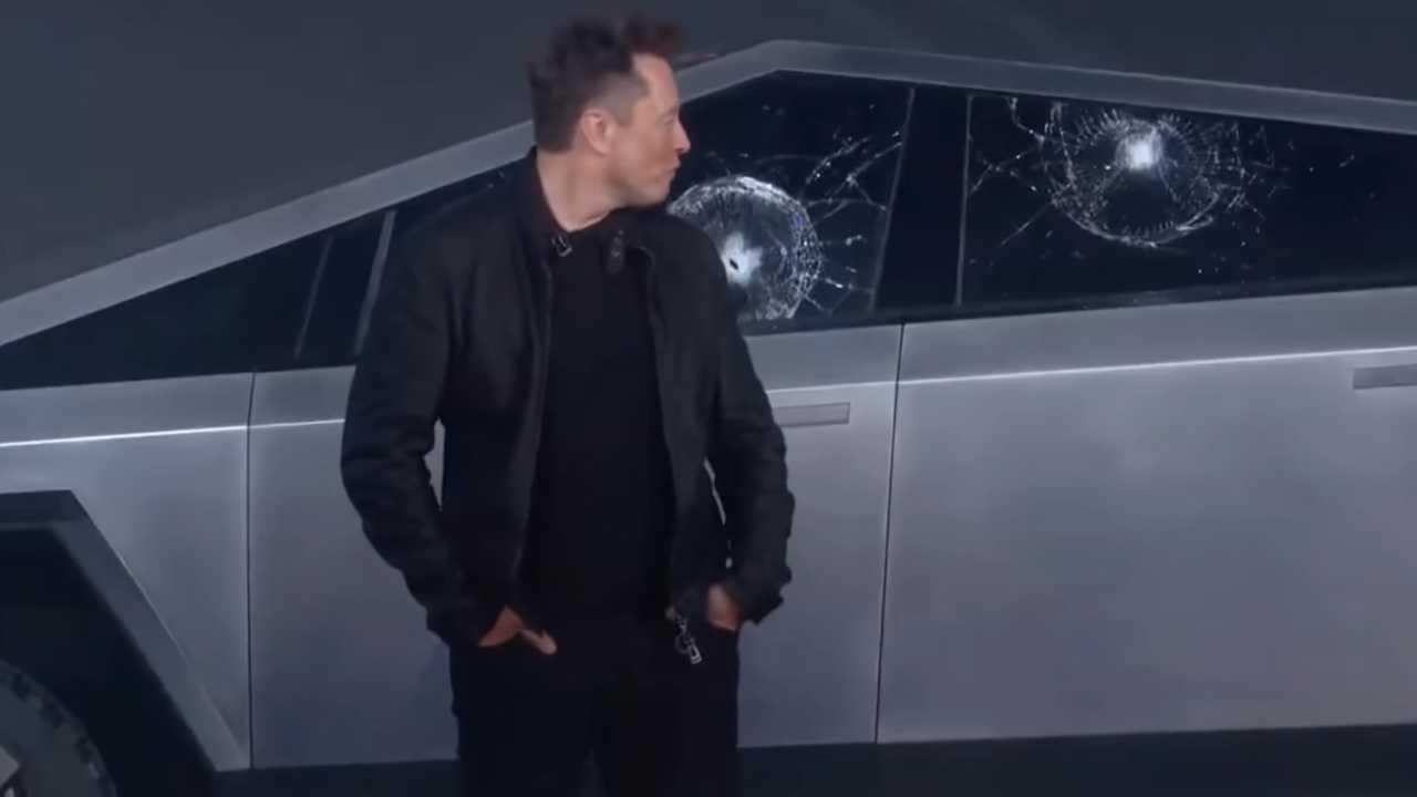 Tesla Cybertruck windows shattered