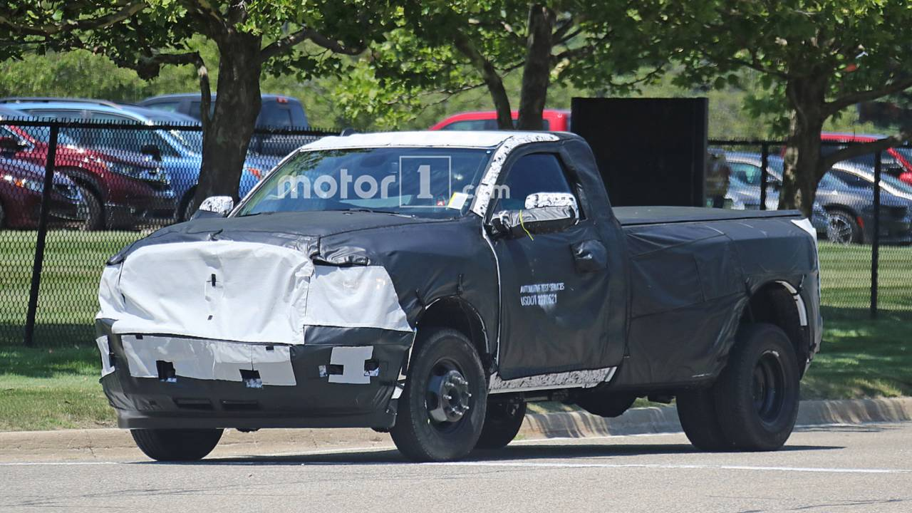 2020 Ram 3500 HD Dually Spied Covered In Heavy Camouflage