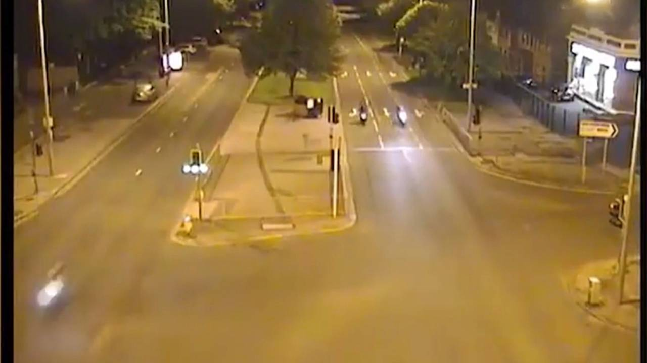 At multiple points in the video, a rider can be seen speeding down the wrong side of the road