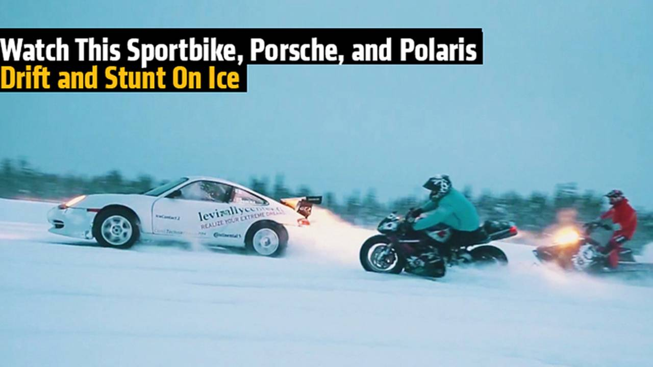 Watch This Sportbike, Porsche, and Polaris Drift and Stunt On Ice
