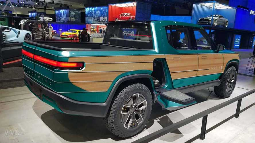 Rivian R1T Electric Pickup Truck Gets The Woodie Treatment
