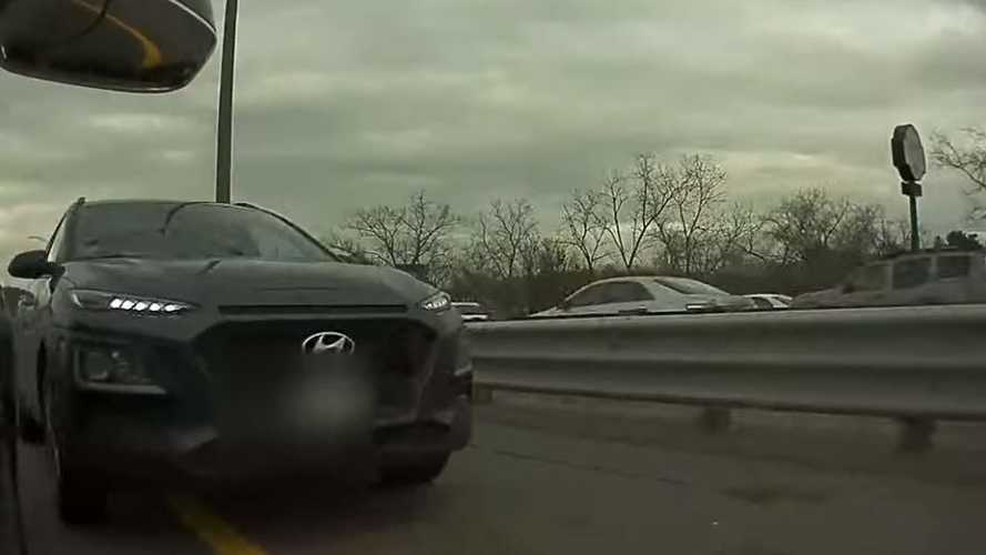 Watch Hyundai SUV Attempt To Illegally Pass On Shoulder, Smash A Tesla