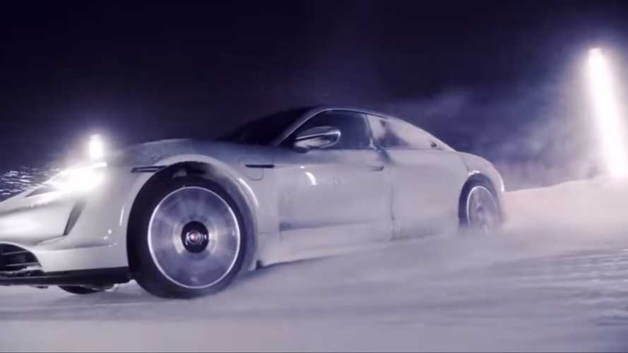 Porsche Taycan powersliding through snow looks oddly relaxing