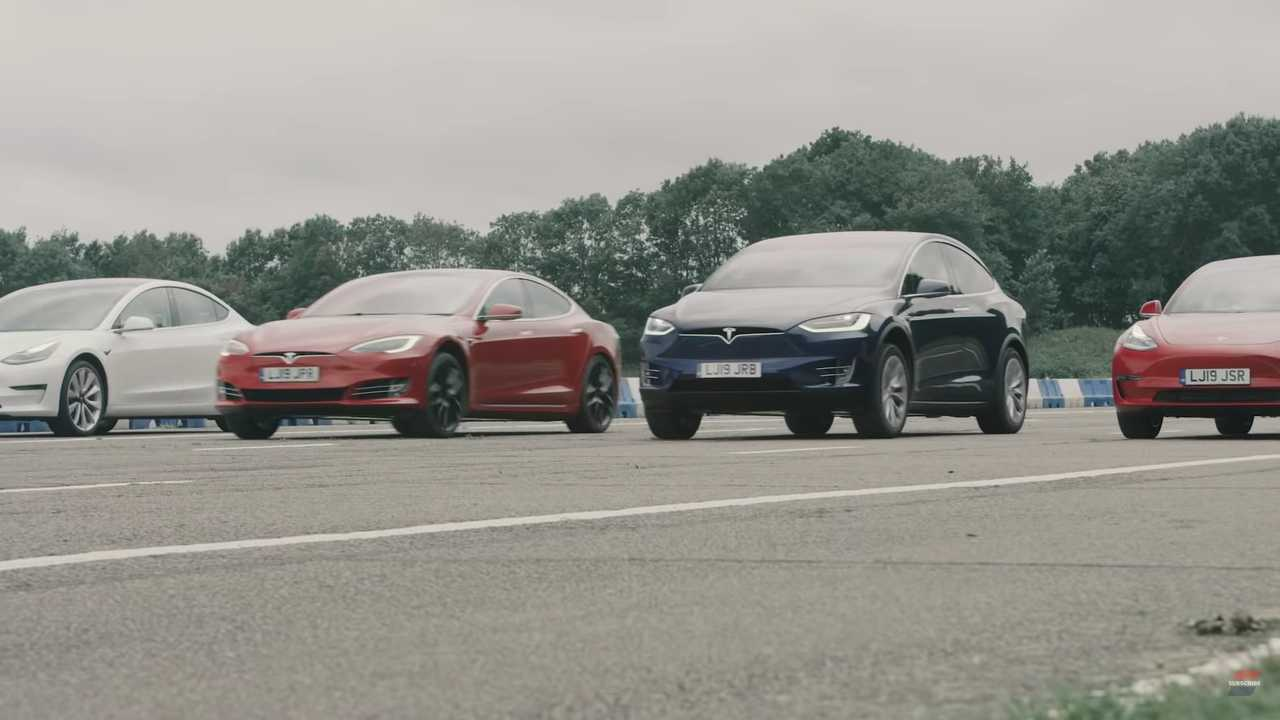 Check This Massive Tesla Drag Race with Model S, Model X, and Model 3