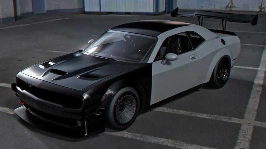 Dodge Challenger Hellcat track car rendering
