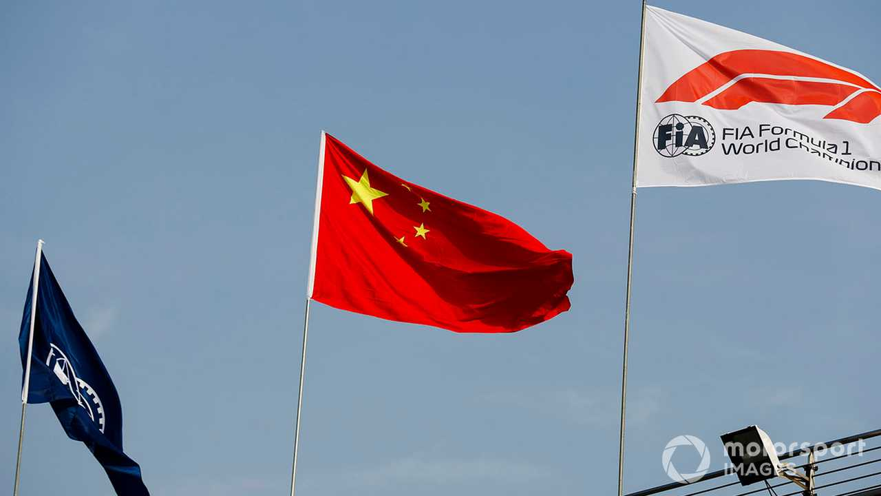 FIA Chinese and F1 flags at Chinese GP 2019