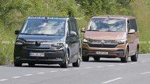 Volkswagen T7 (2021) quasi ungetarnt erwischt, testet mit aktuellem VW Bus