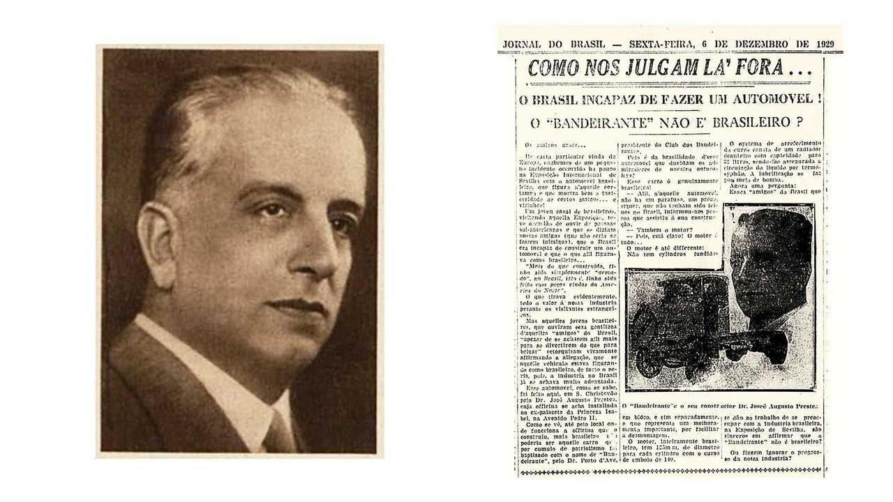 José Augusto Prestes e jornal da época