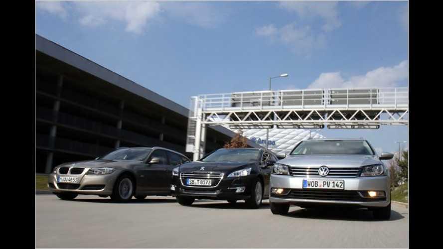 BMW 3er, Peugeot 508 und VW Passat im Vergleich