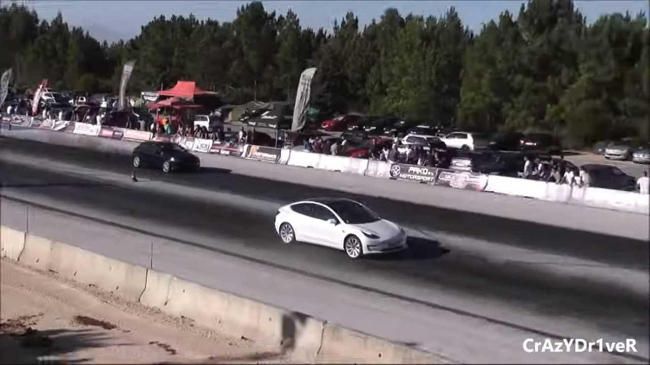 Tesla Model 3 Leaves Smoking Diesels Behind: Race Video