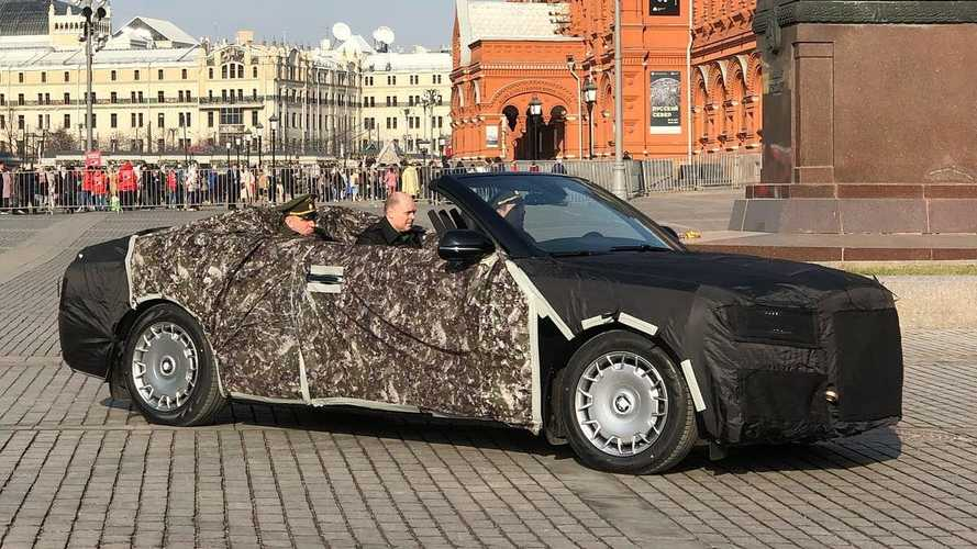 Aurus convertible caught enjoying Russian scenery in Red Square